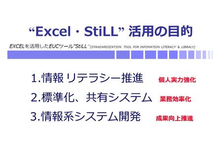 "EXCEL を活用した EUC ツール "" StiLL "" (STANDARDIZATION TOOL FOR INFOMATION LITERACY & LIBRALY) "" Excel ・ StiLL "" 活用の目的 成果向上推進 3. 情報系システム開発 成果向上推進 個人実力強化 1. 情報."