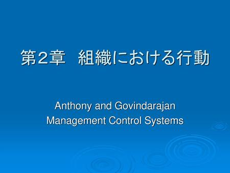 Anthony and Govindarajan Management Control Systems