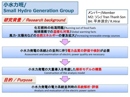 小水力班/ Small Hydro Generation Group 研究背景 / Research background