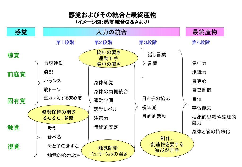 感覚およびその統合と最終産物 (イメージ図:感覚統合Q&Aより)