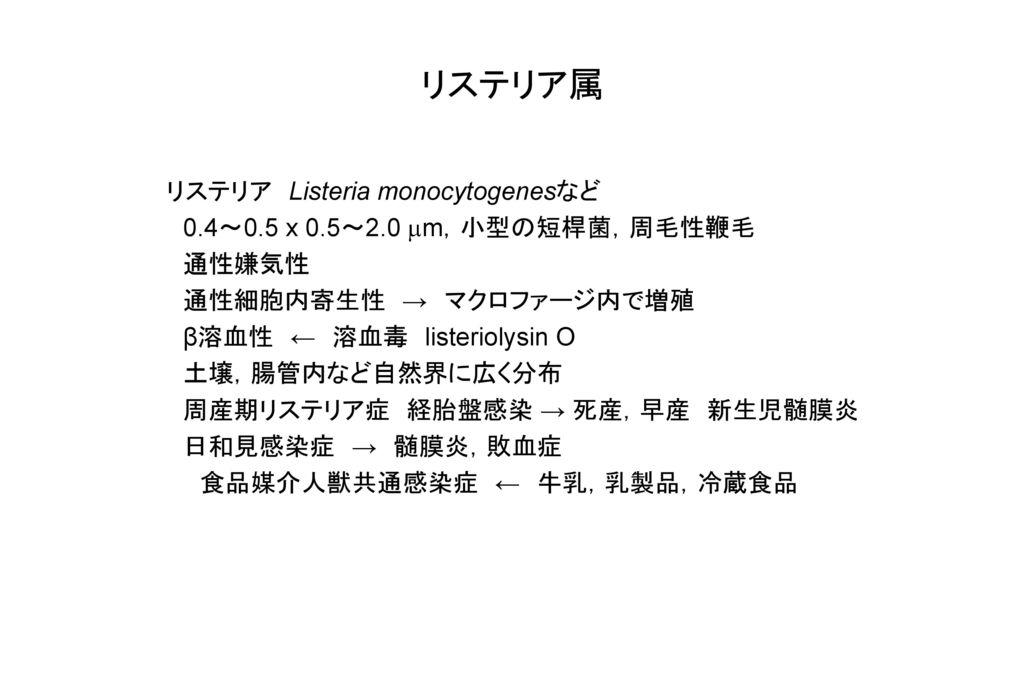 リステリア属 リステリア Listeria monocytogenesなど