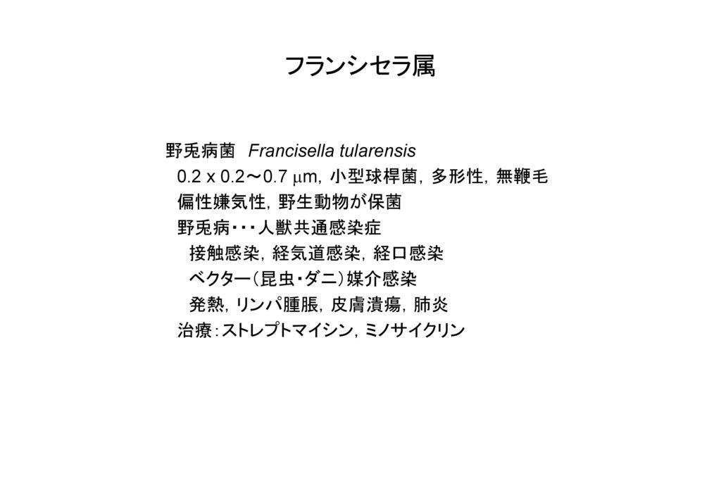 フランシセラ属 野兎病菌 Francisella tularensis 0.2 x 0.2~0.7 mm,小型球桿菌,多形性,無鞭毛