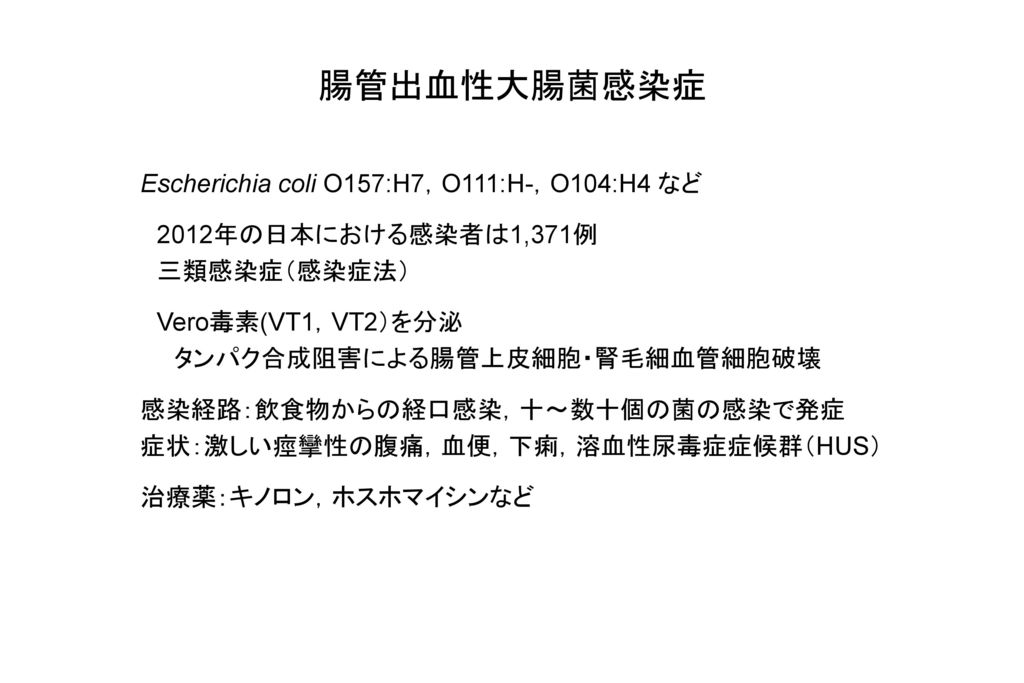 腸管出血性大腸菌感染症 Escherichia coli O157:H7,O111:H-,O104:H4 など