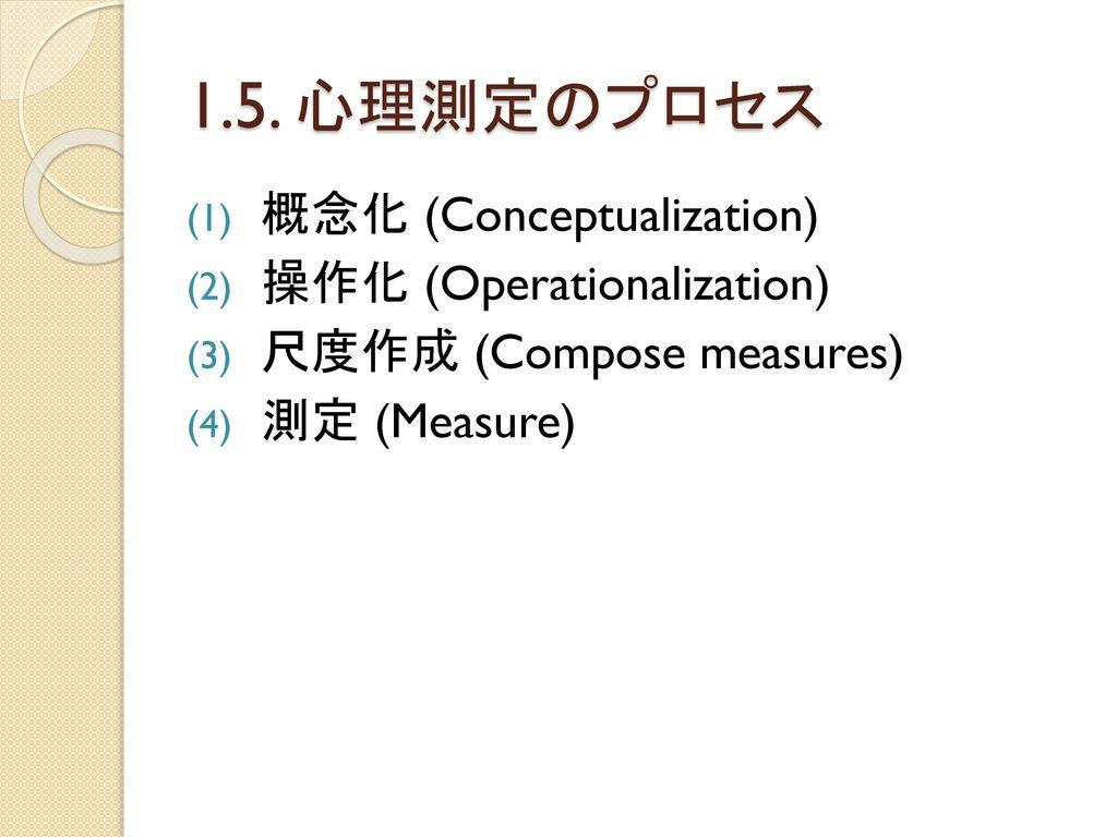 1.5. 心理測定のプロセス 概念化 (Conceptualization) 操作化 (Operationalization)