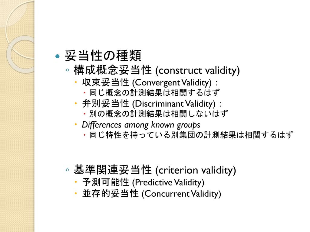 妥当性の種類 構成概念妥当性 (construct validity) 基準関連妥当性 (criterion validity)