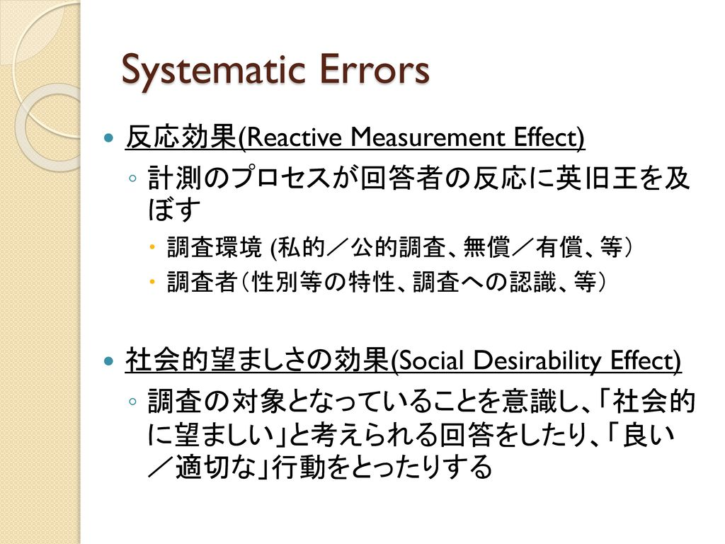 Systematic Errors 反応効果(Reactive Measurement Effect)