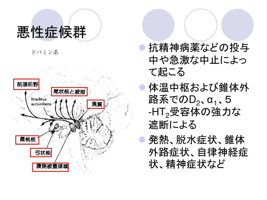 悪性症候群 抗精神病薬などの投与中や急激な中止によって起こる 体温中枢および錐体外路系でのD2、α1、5‐HT2受容体の強力な遮断による