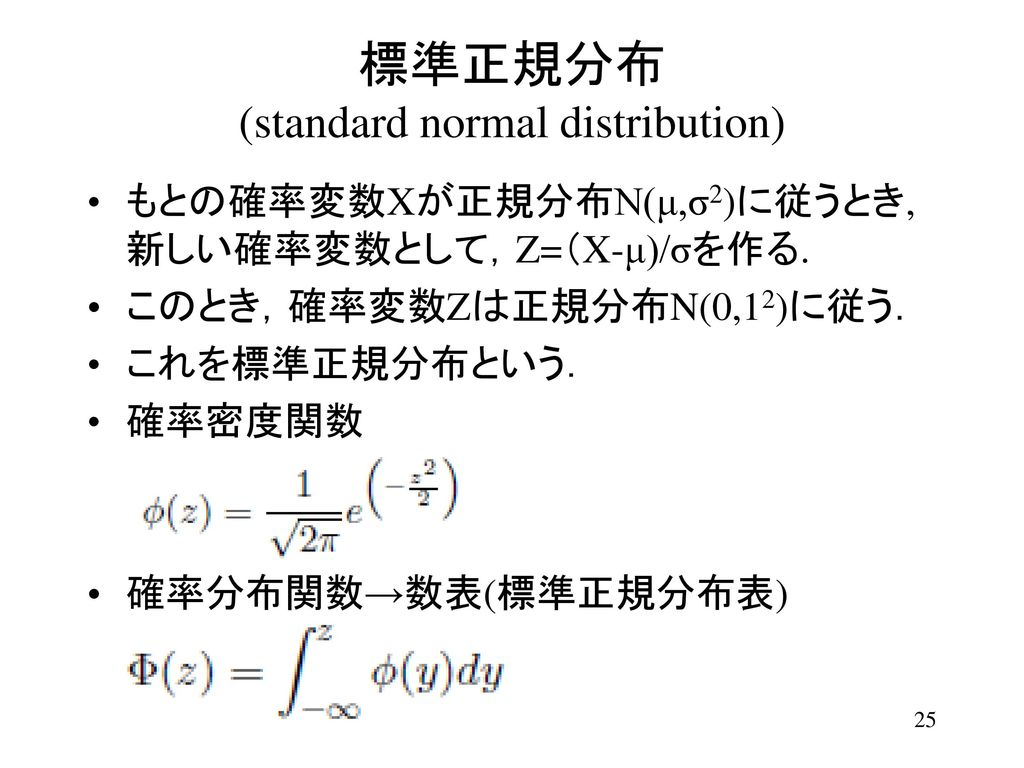 標準正規分布 (standard normal distribution)
