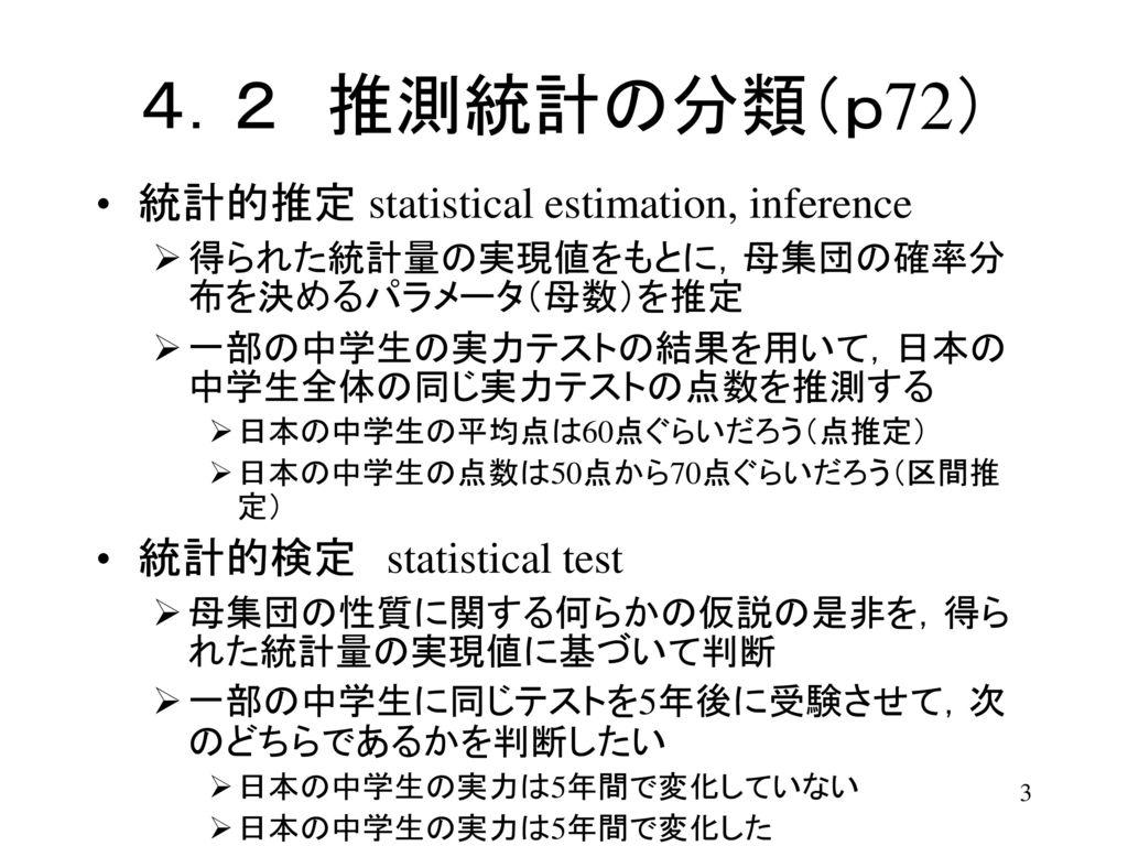 4.2 推測統計の分類(p72) 統計的推定 statistical estimation, inference