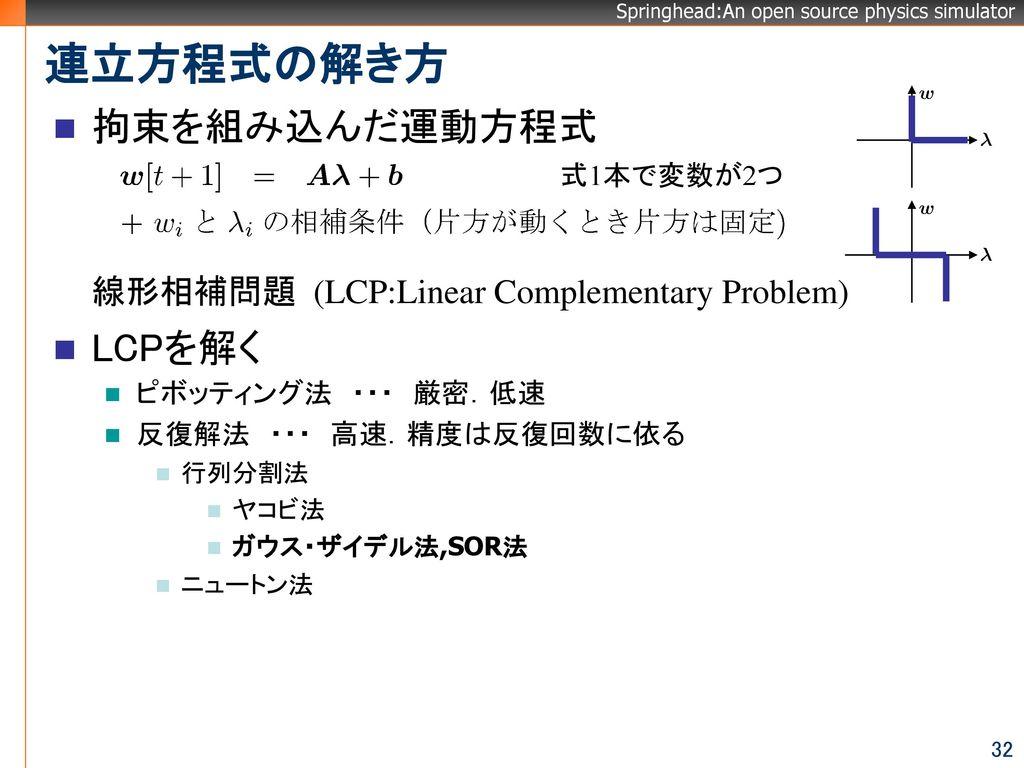 連立方程式の解き方 拘束を組み込んだ運動方程式 LCPを解く