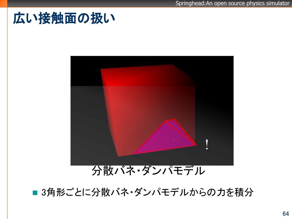 ! 広い接触面の扱い 分散バネ・ダンパモデル 3角形ごとに分散バネ・ダンパモデルからの力を積分
