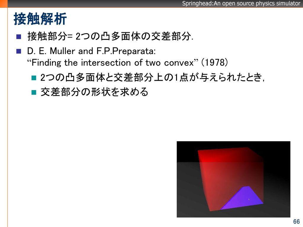 接触解析 接触部分= 2つの凸多面体の交差部分.