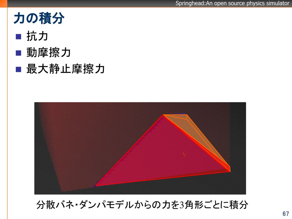 分散バネ・ダンパモデルからの力を3角形ごとに積分