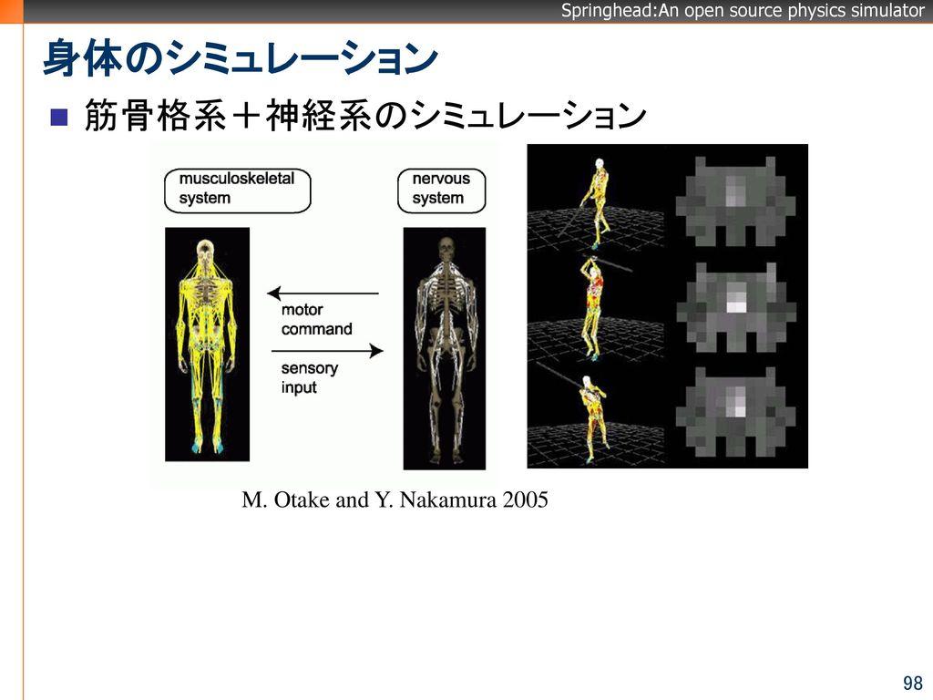身体のシミュレーション 筋骨格系+神経系のシミュレーション M. Otake and Y. Nakamura 2005