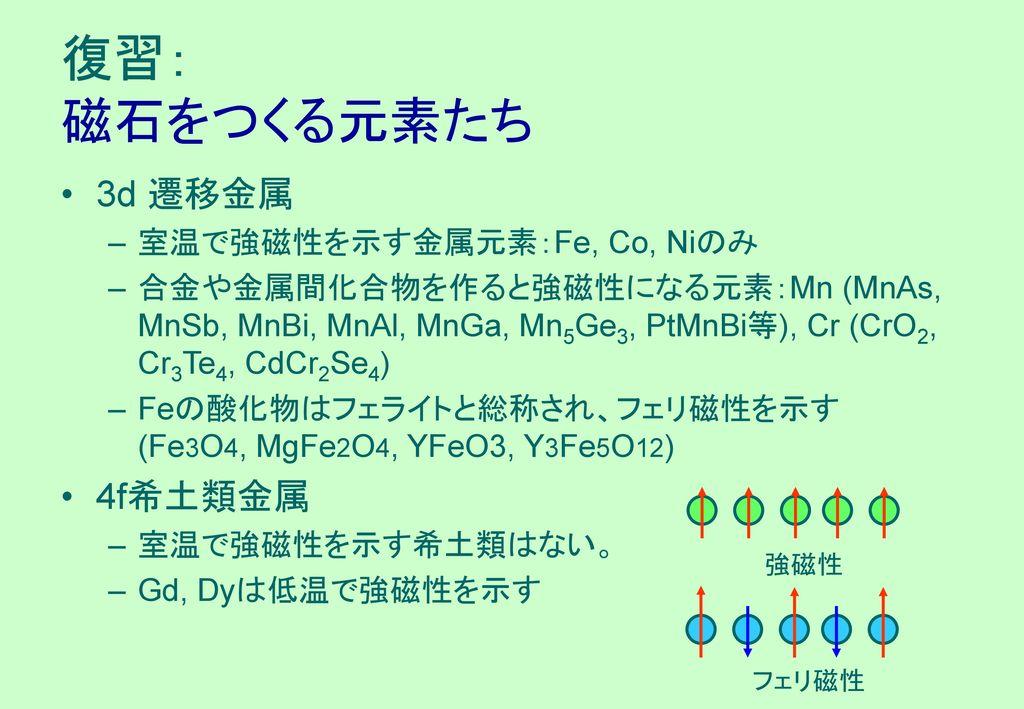 復習: 磁石をつくる元素たち 3d 遷移金属 4f希土類金属 室温で強磁性を示す金属元素:Fe, Co, Niのみ