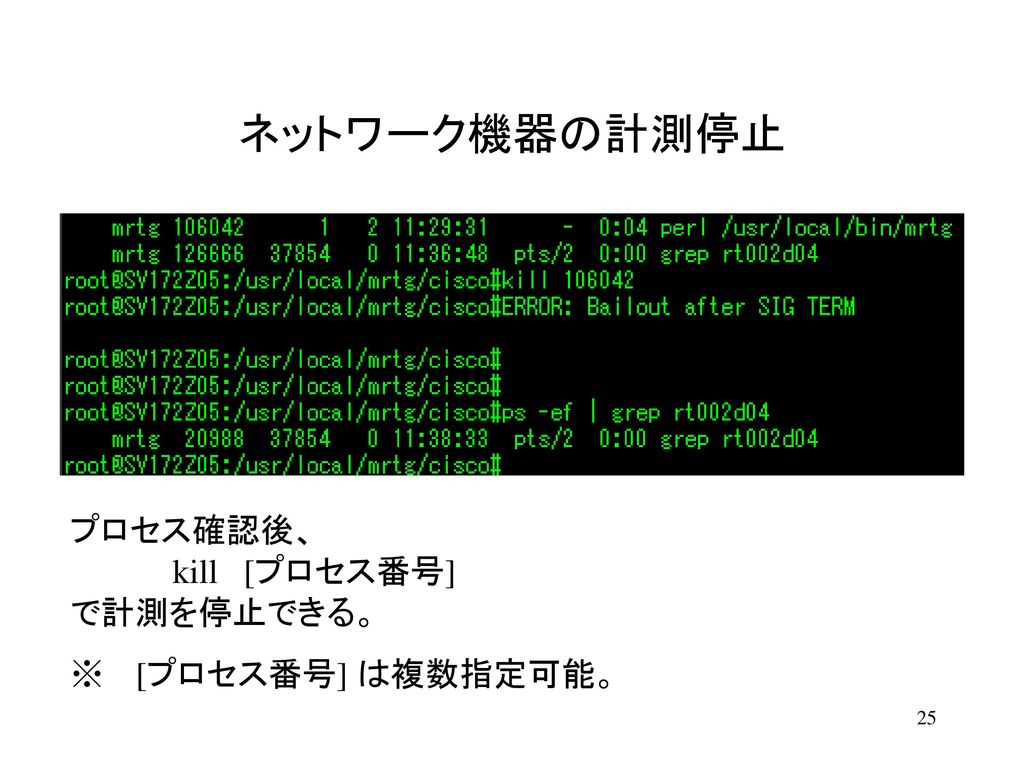 ネットワーク機器の計測停止 計測停止した機器を、既存のIndexページから非表示するには、コメント記号を利用する。