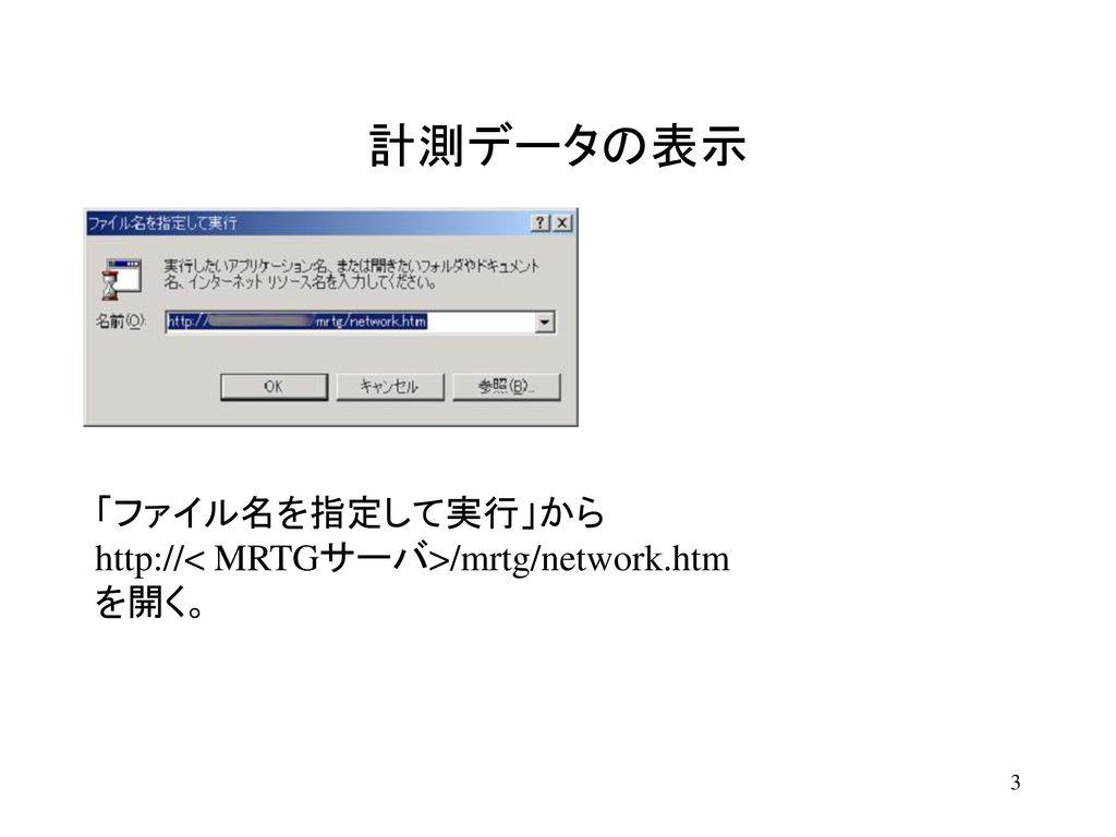 計測データの表示 あらかじめ用意してあるxxxxxxxのIndexページが現れる。