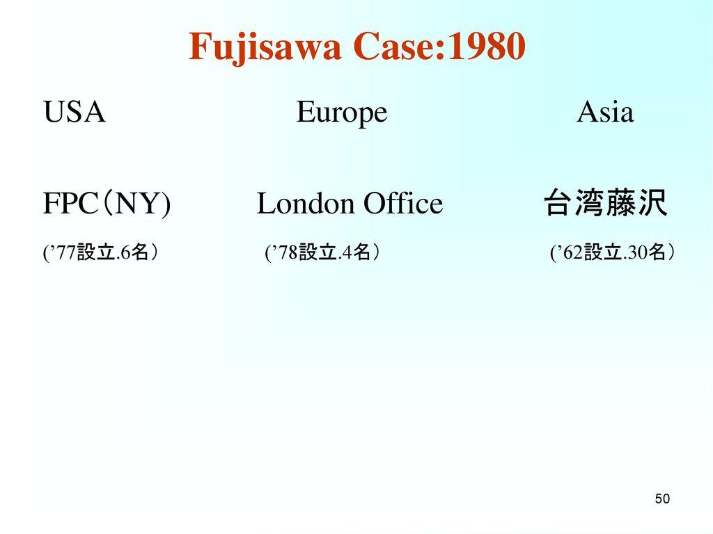 Fujisawa Case:1985 USA Europe Asia FSK(50%) 台湾藤沢 Klinge Pharma(28%)