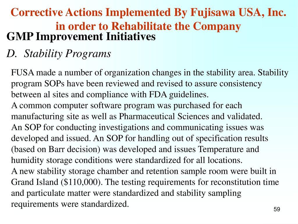 GMP Improvement Initiatives