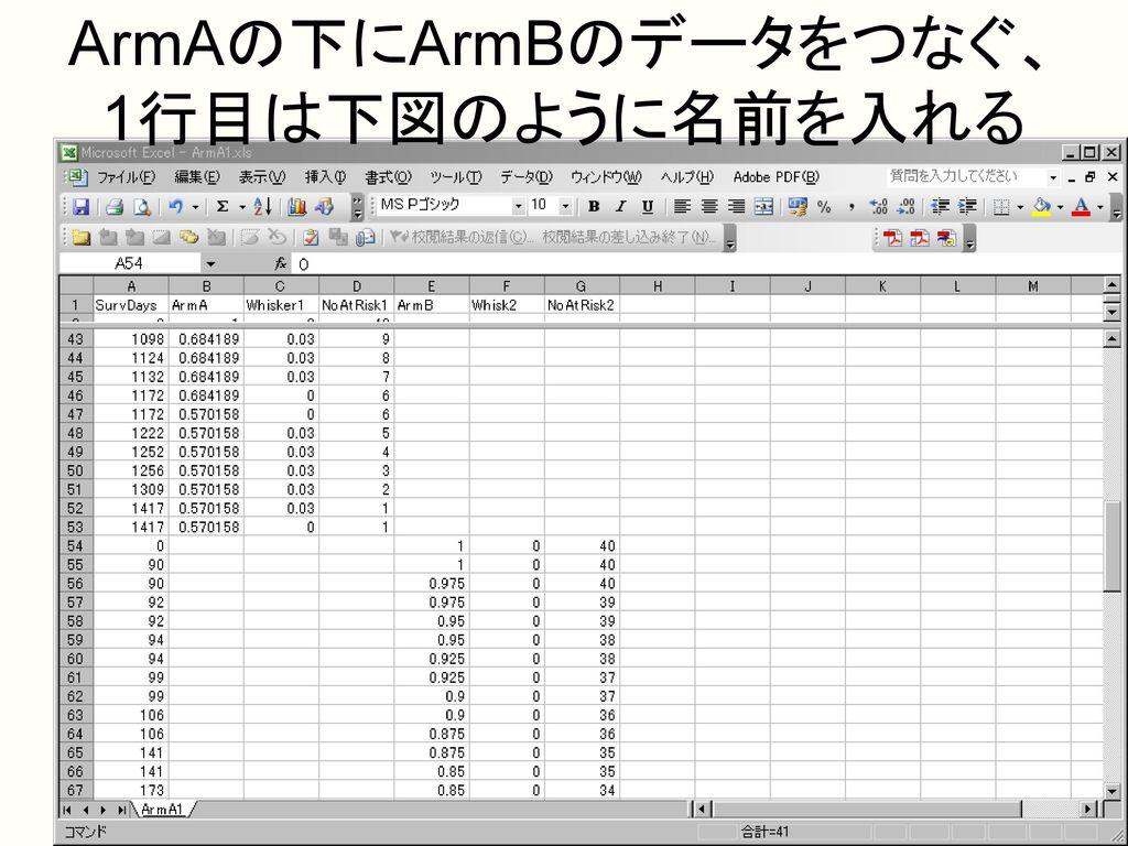 ArmAの下にArmBのデータをつなぐ、 1行目は下図のように名前を入れる
