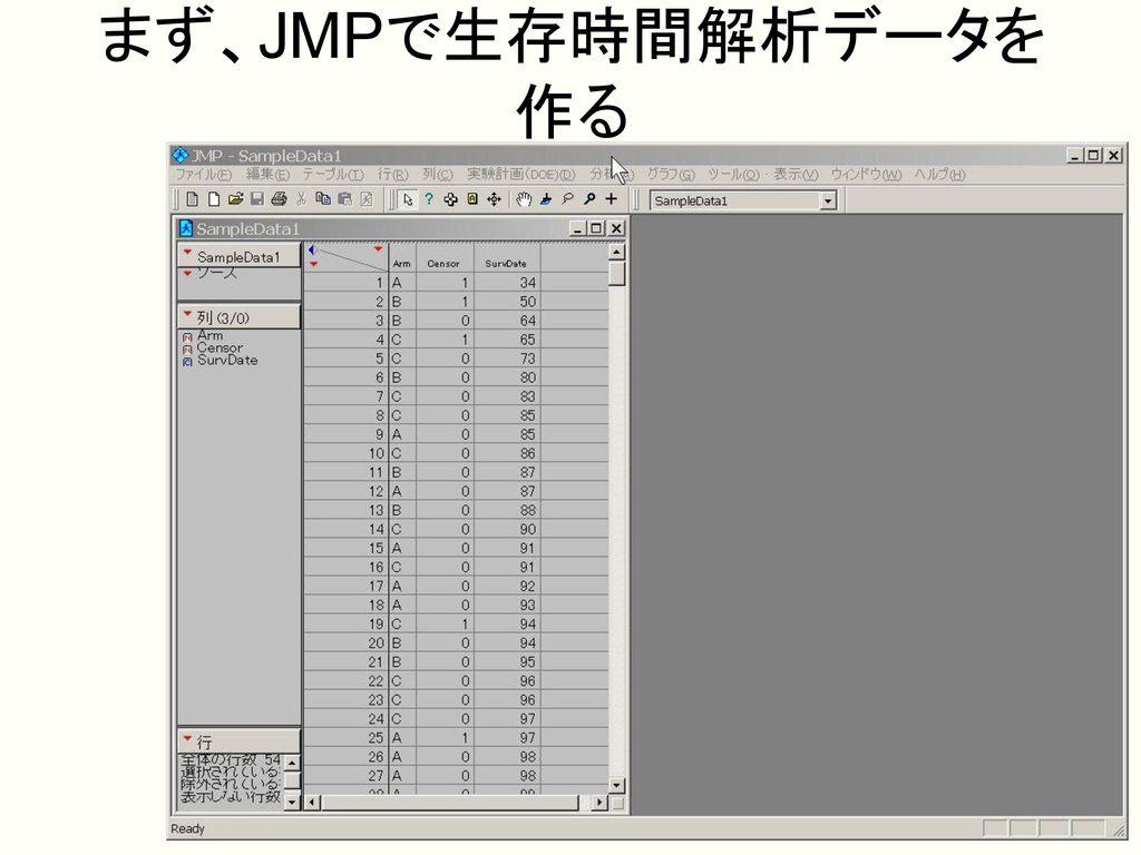 まず、JMPで生存時間解析データを作る