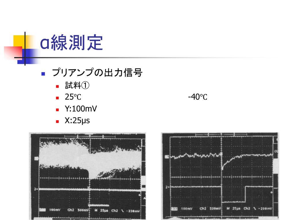 α線測定 プリアンプの出力信号 試料① 25℃ -40℃ Y:100mV X:25μs