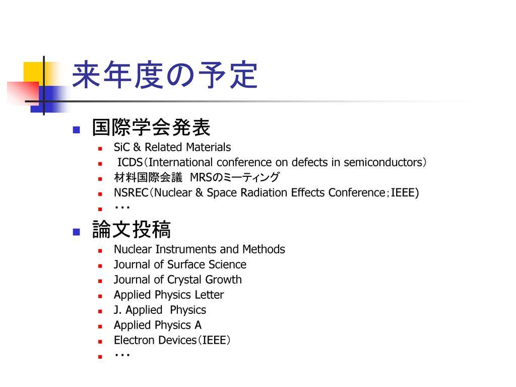 来年度の予定 国際学会発表 論文投稿 SiC & Related Materials
