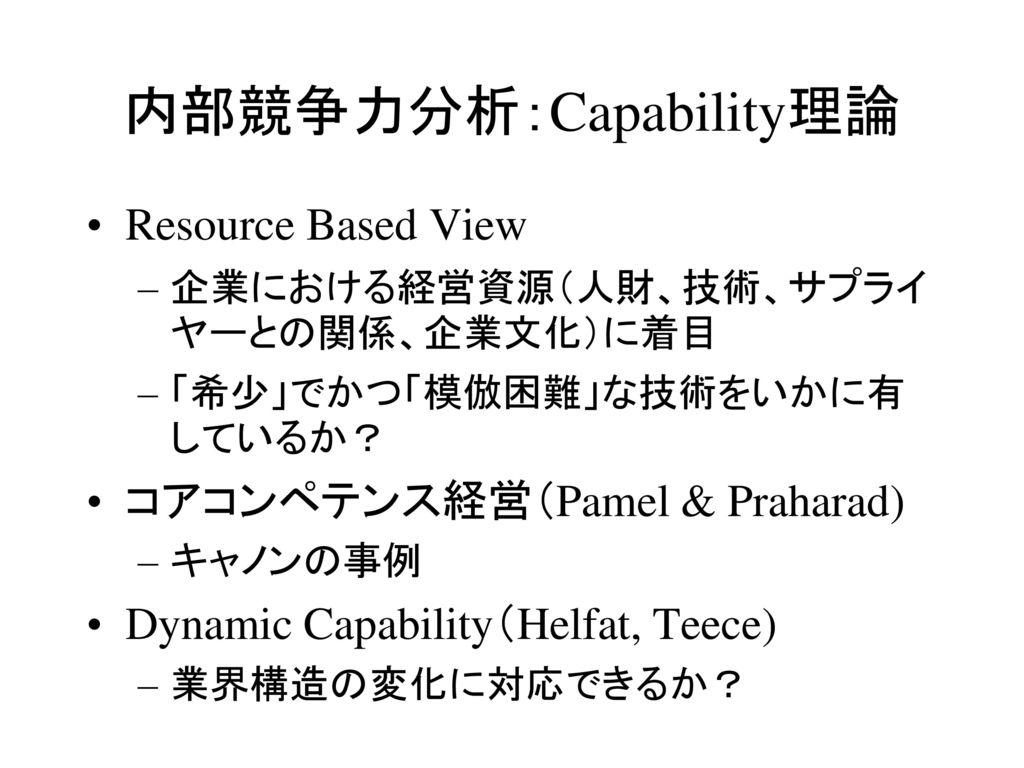 内部競争力分析:Capability理論