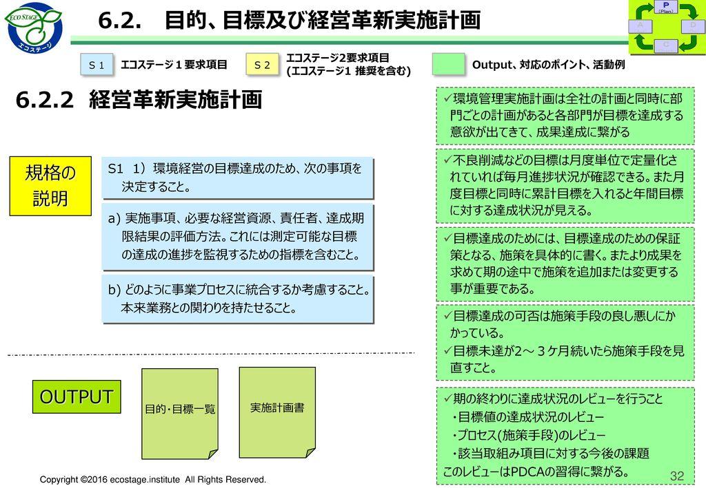<実施計画>中期・短期 環境経営目的・目標(例)
