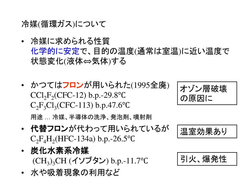 冷媒(循環ガス)について 冷媒に求められる性質 化学的に安定で、目的の温度(通常は室温)に近い温度で 状態変化(液体⇔気体)する.