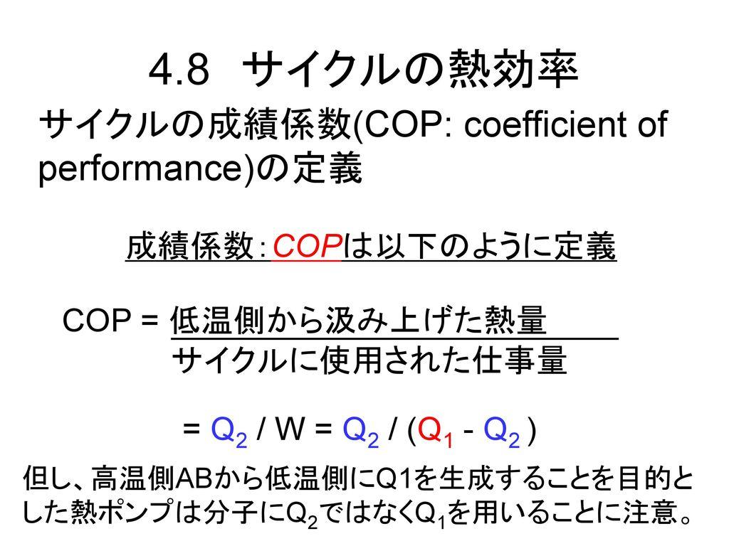 4.8 サイクルの熱効率 サイクルの成績係数(COP: coefficient of performance)の定義