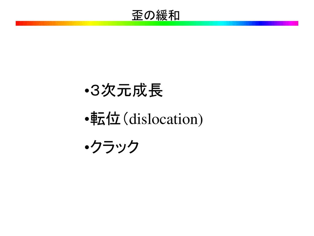 歪の緩和 3次元成長 転位(dislocation) クラック