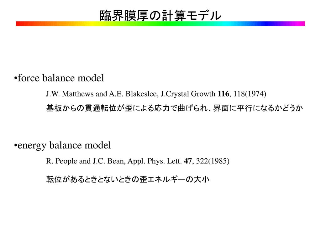 臨界膜厚の計算モデル force balance model energy balance model