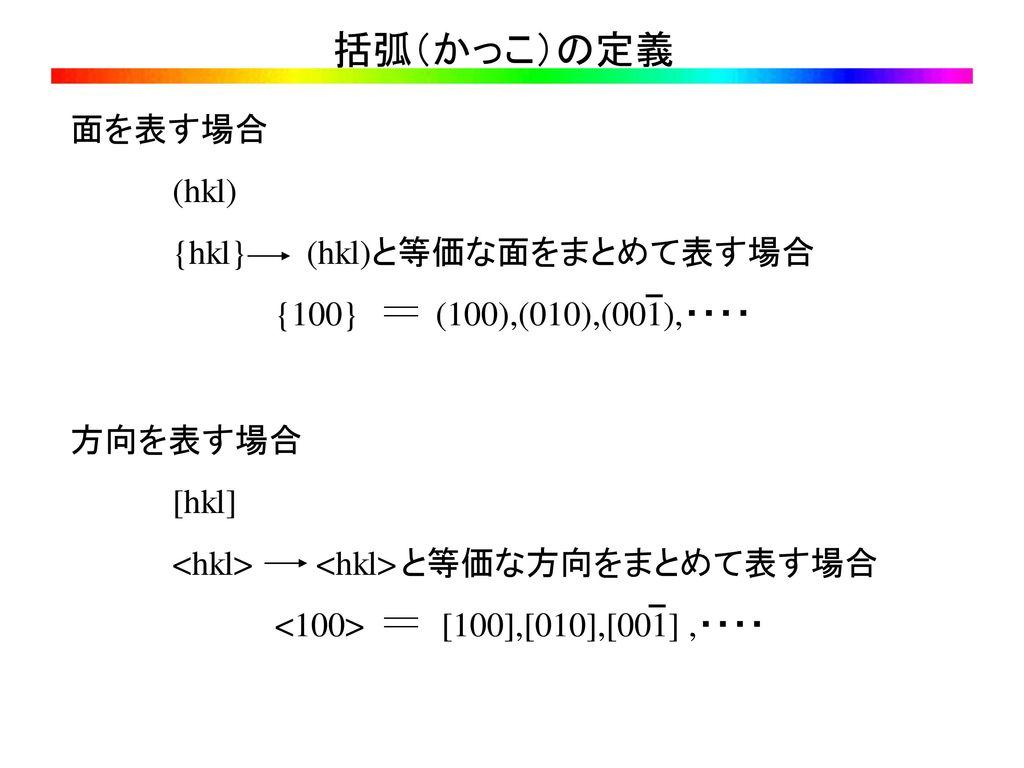 括弧(かっこ)の定義 面を表す場合 (hkl) {hkl} (hkl)と等価な面をまとめて表す場合