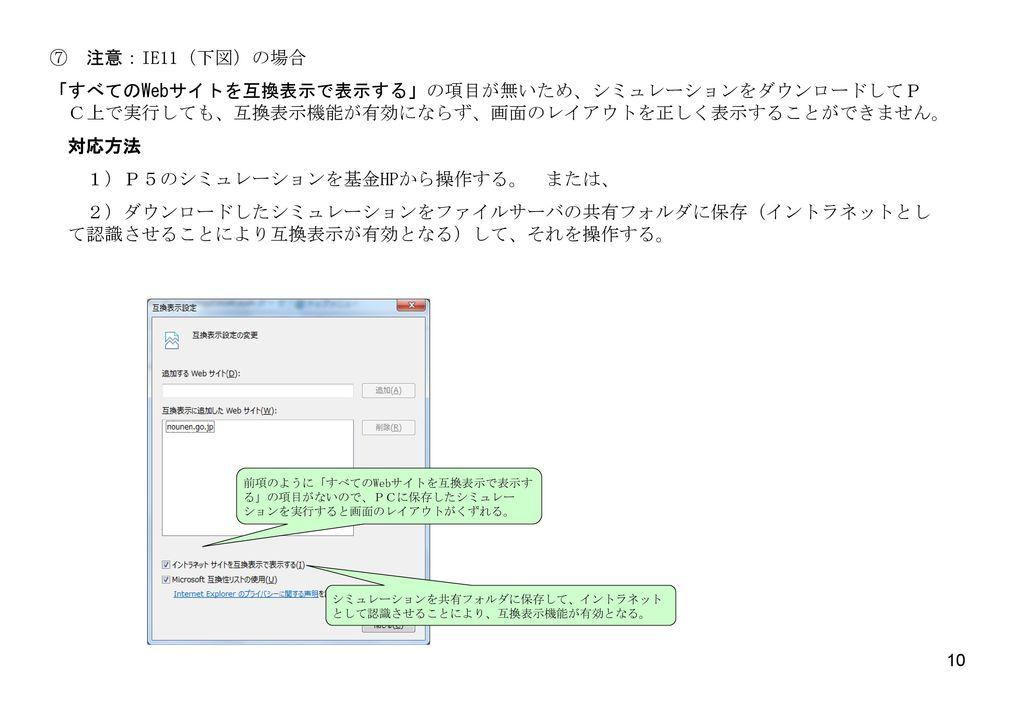 1)P5のシミュレーションを基金HPから操作する。 または、