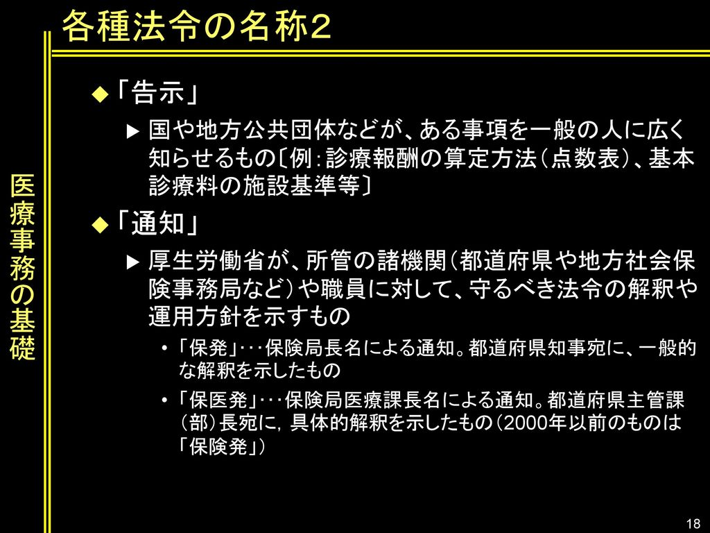 各種法令の名称2 「告示」 医療事務の基礎 「通知」