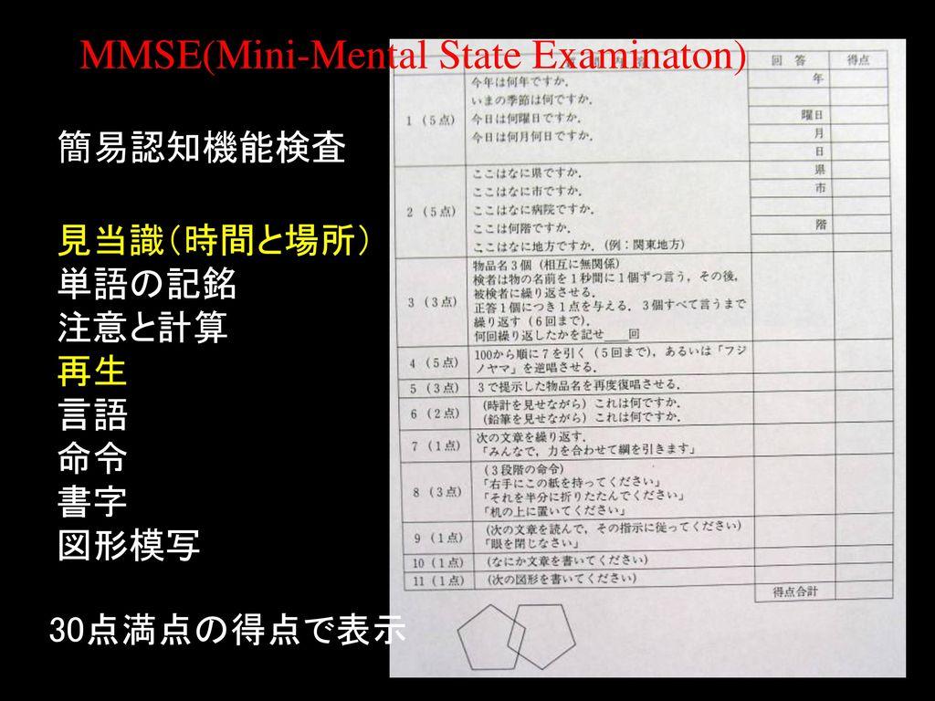 MMSE(Mini-Mental State Examinaton)
