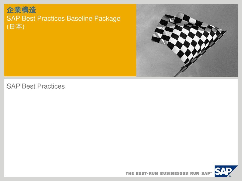 企業構造 SAP Best Practices Baseline Package (日本)