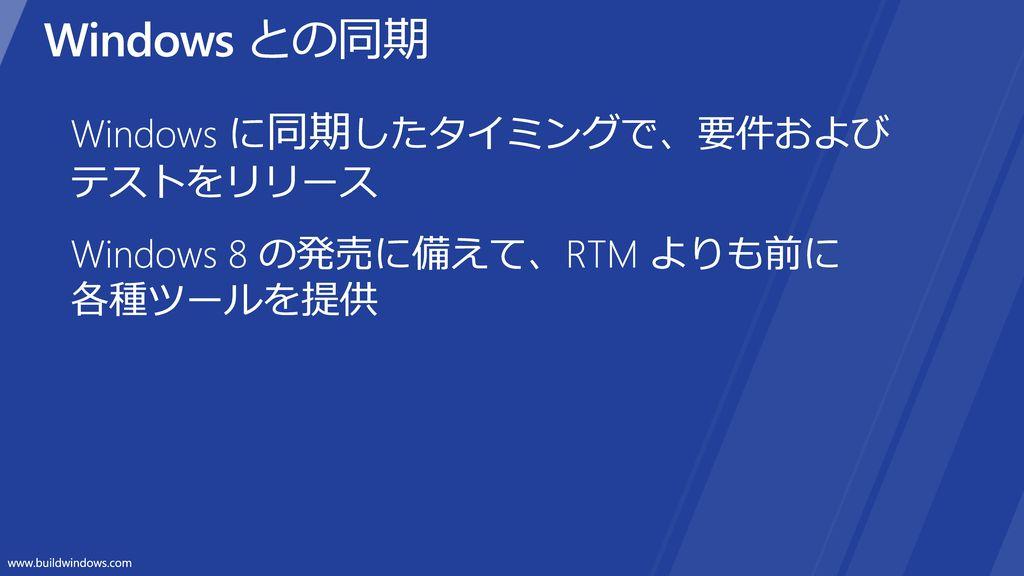 Windows との同期 Windows に同期したタイミングで、要件および テストをリリース