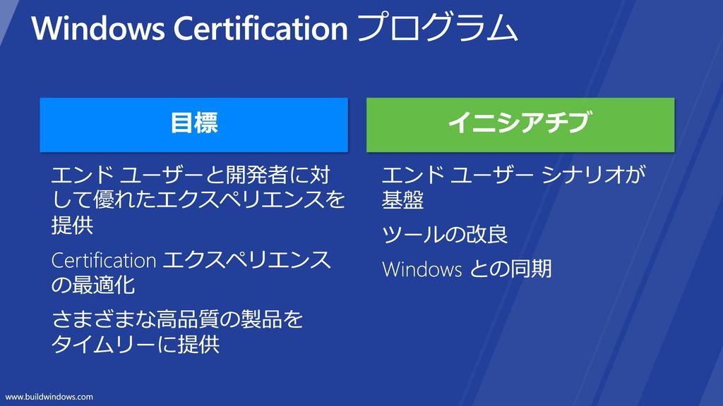 Windows Certification プログラム