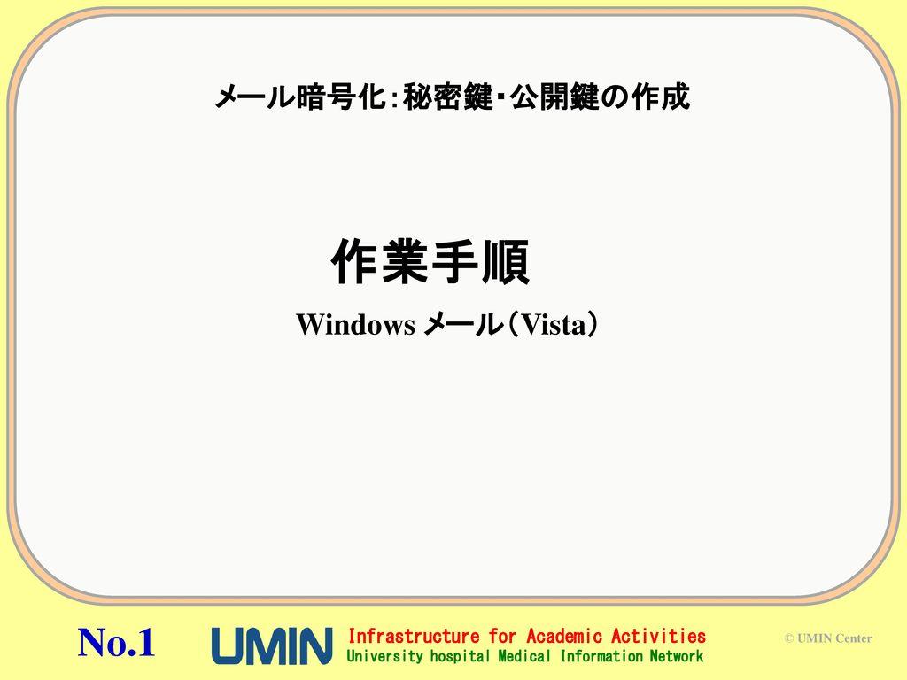 メール暗号化:秘密鍵・公開鍵の作成 作業手順 Windows メール(Vista)