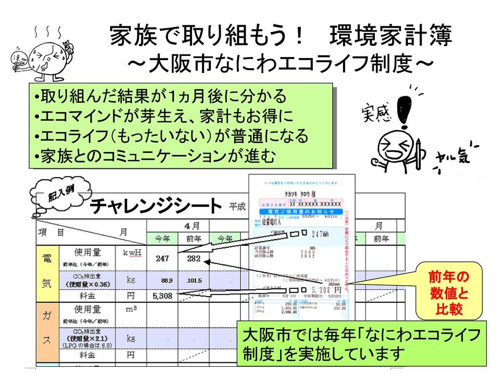 家族で取り組もう! 環境家計簿 ~大阪市なにわエコライフ制度~