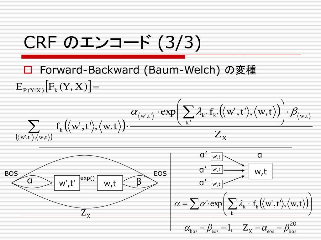 CRF のエンコード (3/3) Forward-Backward (Baum-Welch) の変種 α β w',t' w,t w,t