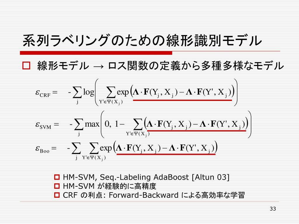 系列ラベリングのための線形識別モデル 線形モデル → ロス関数の定義から多種多様なモデル