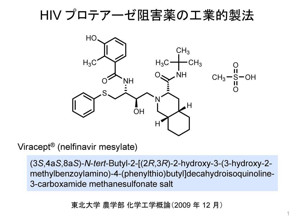 HIV プロテアーゼ阻害薬の工業的製法 Viracept® (nelfinavir mesylate)