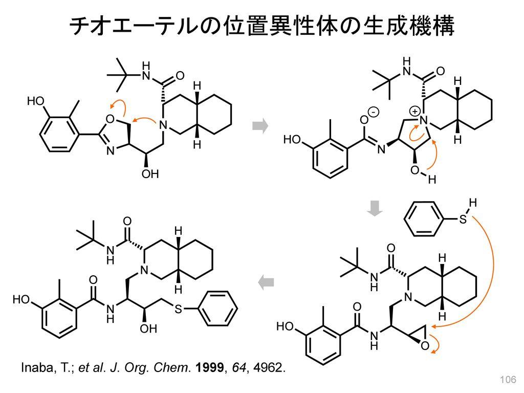 チオエーテルの位置異性体の生成機構 - + Inaba, T.; et al. J. Org. Chem. 1999, 64, 4962.