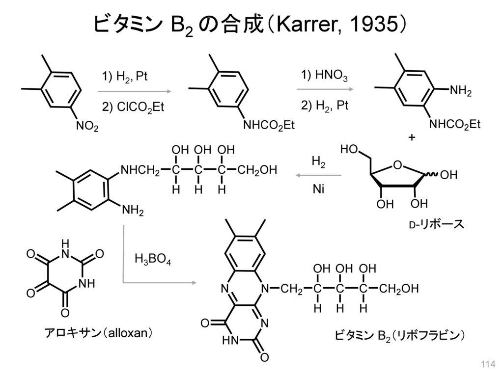 ビタミン B2 の合成(Karrer, 1935) + 1) H2, Pt 1) HNO3 2) ClCO2Et 2) H2, Pt H2