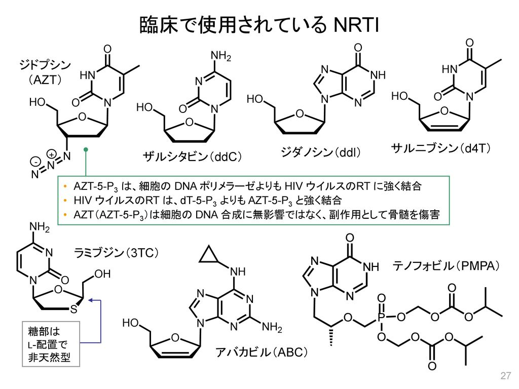 臨床で使用されている NRTI ジドプシン (AZT) サルニブシン(d4T) ジダノシン(ddl) ザルシタビン(ddC)