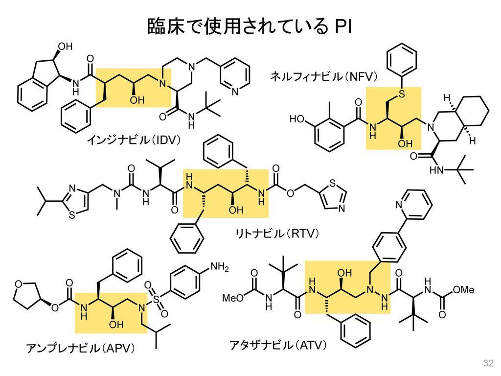 臨床で使用されている PI ネルフィナビル(NFV) インジナビル(IDV) リトナビル(RTV) アタザナビル(ATV)