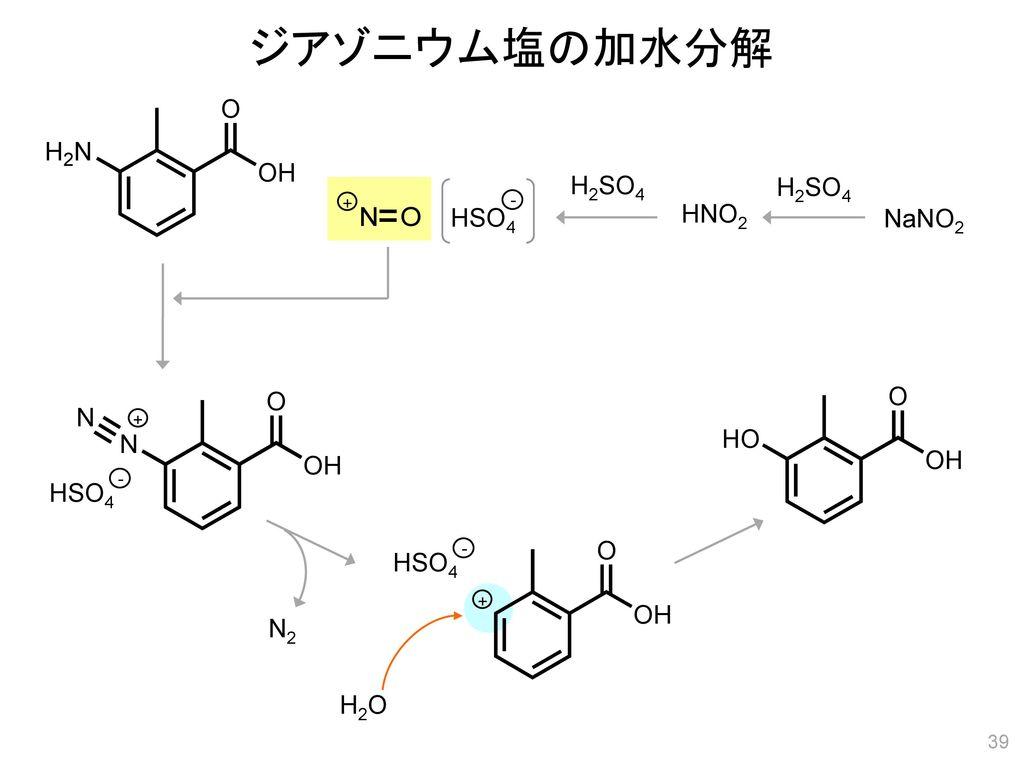 ジアゾニウム塩の加水分解 H2SO4 H2SO4 + - HSO4 HNO2 NaNO2 + - HSO4 - HSO4 + N2 H2O